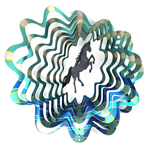 (WorldaWhirl Whirligig 3D Wind Spinner Hand Painted Stainless Steel Twister Unicorn (12 Inch, Multi Color) )