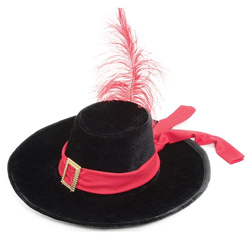 Jacobson Hat Company Men's Velvet Swashbuckler Hat, Black, One (Ladies Swashbuckler Hat)
