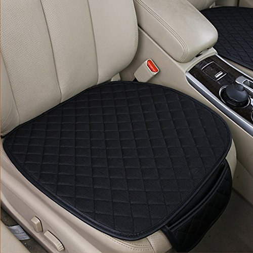 - 2pc Breathable Car Interior Seat Cover Cushion Pad Mat for Auto Supplies Office Chair with PU Leather Bamboo Charcoal (Black)