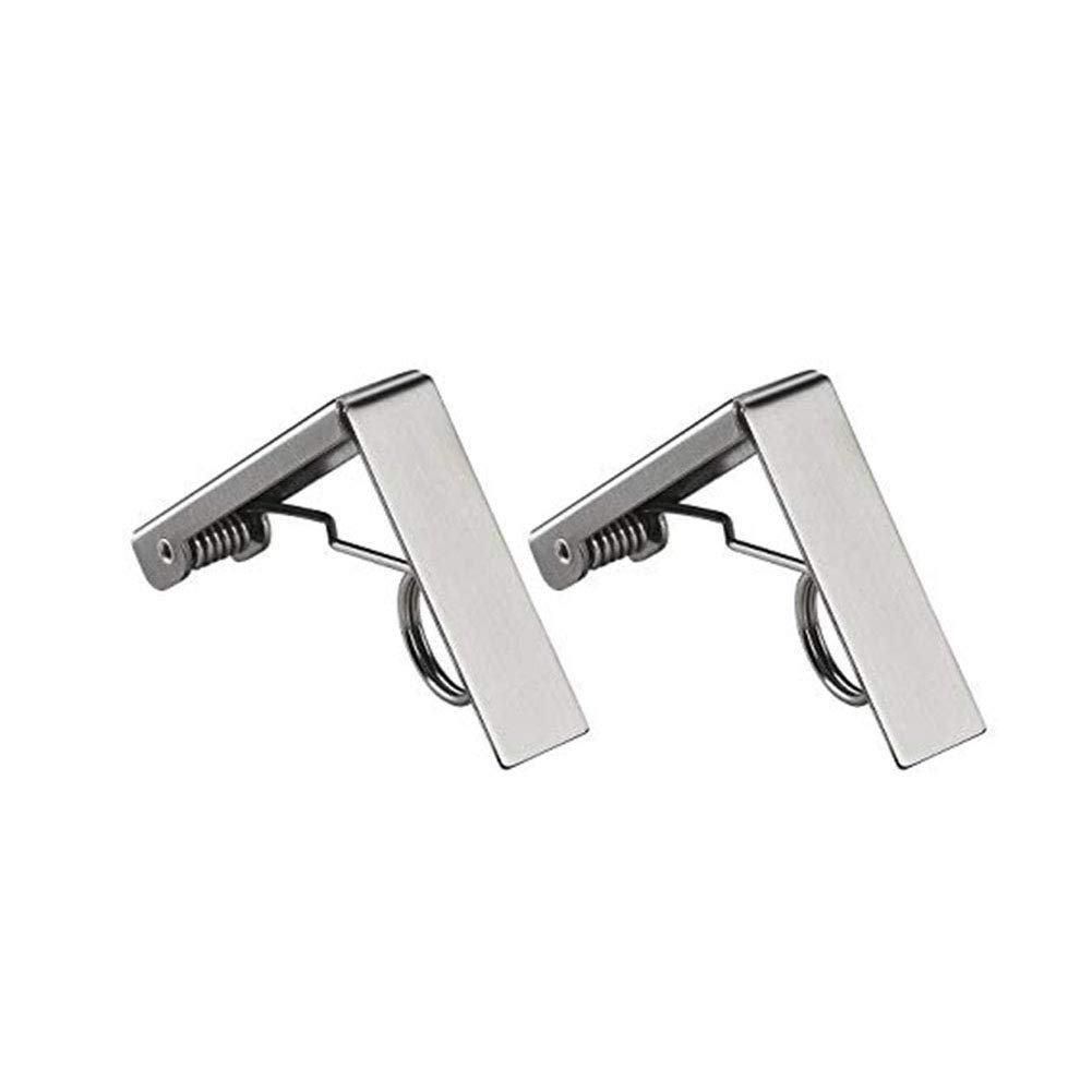 Fansi 2 PCS strength elastic large-diameter stainless steel tablecloth clip Size: 7.3 * 6CM (for desktops below 6cm thickness)