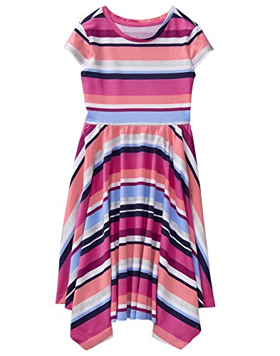 Gymboree Girls' Little Short Sleeve Handkerchief Dress, Pink Stripe, S from Gymboree