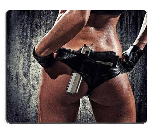 HZMJPAD 8.6 X 7.1 Mouse pad Mouse Mat Image ID: 18525024 Sexy Woman with Hand Gun (Best Small Handgun For A Female)