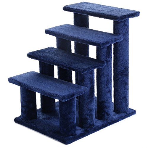 LAZYMOON 21'' Cat Ladder Dog 4-Step Portable Ramp Stairs Perch Scratcher Cat Tree Pet Climber Steps, Dark Brown (Blue)