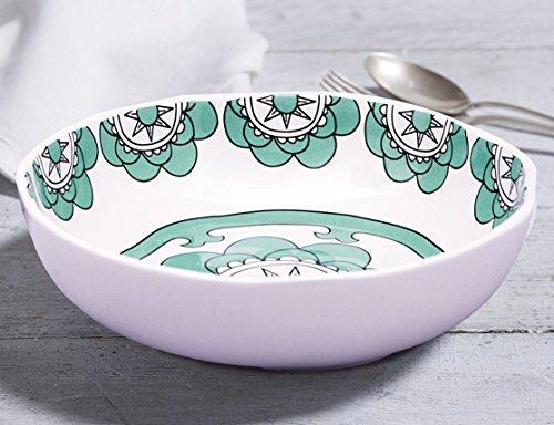 Set 2 Soup Bowls Pasta Salad Plates, 37 Ounce Each, Hand Made Porcelain, Mint Blue, (Deep Pasta Bowl)