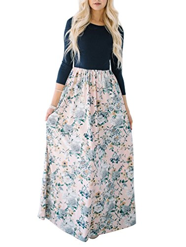 MIROL Women's Spring Floral Printed High Waist Party Maxi Dress 3/4 Sleeves Long Dress With Pockets
