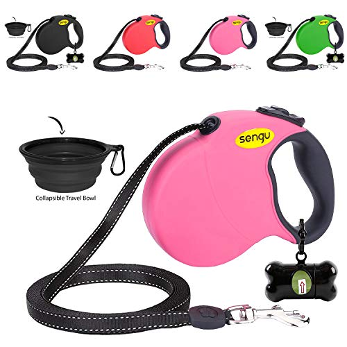 Retractable Dog Leash 16ft, Strong Durable, Walking Leash Large Medium Small Dogs 110lbs, Comfortable Anti-Slip Handle, Reflective Ribbon Cord, One Hand Operation YujueShop (16ft /196in, pinkT)