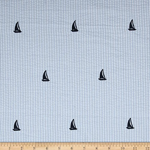 Kaufman Embroidered Seersucker Sailboats Blue Fabric By The Yard
