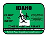 Idaho State Zombie Hunting Permit License Vinyl Sticker Decal