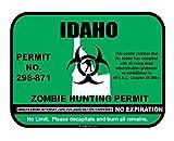 Slap-Art Idaho Zombie Hunting Hunt Permit funny vinyl decals bumper stickers