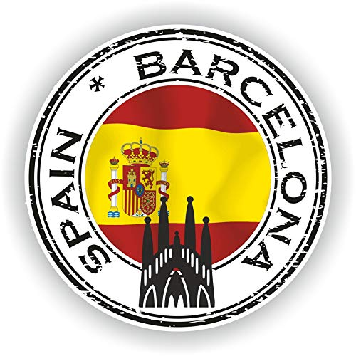 Tiukiu Spain Barcelona Vinyl Sticker Round Flag for Laptop Book Fridge Guitar Motorcycle Helmet Toolbox Door Luggage Cases