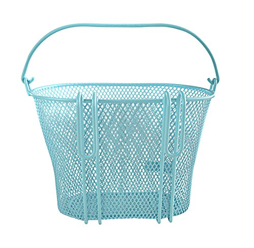 Basket with Hooks Blue, Front, Removable, Wire mesh Small Bicycle Basket, Blue by Biria (Image #1)