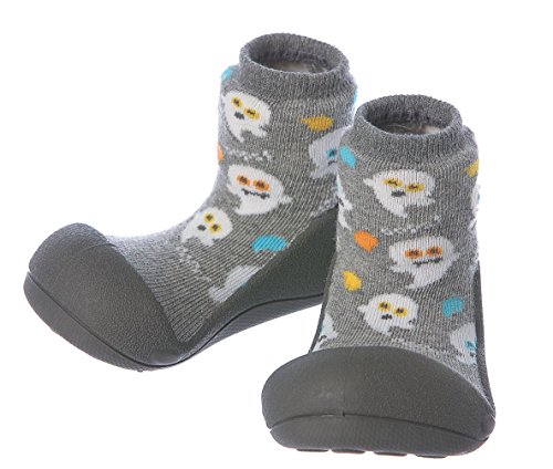 Attipas Best First Walker Shoes Baby Cotton Socks Shoes Non Toxic Safe Great Baby Registry Gifts (US Toddler 3.5, Halloween Gray) -