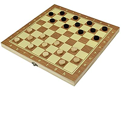 Travel Checkers Board Game and Wooden Portable Chess Board Set Folding Combo Board Games