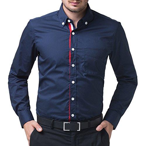 PJ PAUL JONES Men's Button Down Casual Shirts (XL, Navy Blue 48-2)