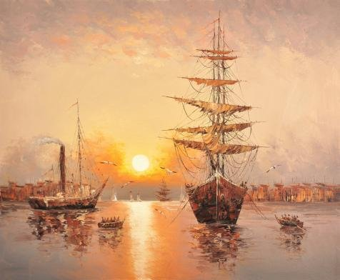 [Oil Painting 'Wall Seascape With Sailing Ships And Sea Gulls' 16 x 19 inch / 41 x 49 cm , on High Definition HD canvas prints is for Gifts And Bath Room, Home Office And Kids Room] (Theatre Costume Closet)