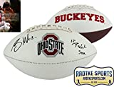 """Braxton Miller Autographed/Signed Ohio State Buckeyes Embroidered NCAA Logo Football with """"12 Perfect Szn"""" Inscription"""