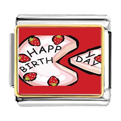 (GiftJewelryShop Gold Plated Pink Strawberry Birthday Cake Bracelet Link Photo Italian Charm)
