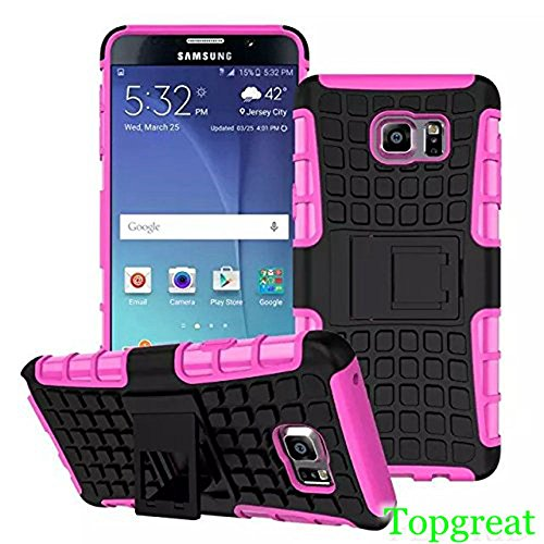 Note 5 Case,Samsung Note 5 Case,TopGreat/TPU+PC/Hybrid Rubberized/[Scratchproof] [Shock proof] [Skidproof] Impact Resistant Hard Shell With Kickstand [Gifts] for Galaxy note 5 (Pink)