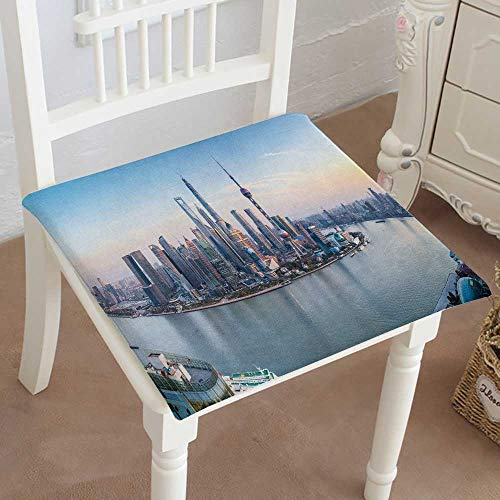 "Mikihome Indoor/Outdoor All Weather Chair Pads Shanghai Skyline Panoramic View at Dusk China Seat Cushions Garden Patio Home Chair Cushions 20""x20""x2pcs"