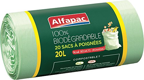 Alfapac - Bolsas de basura con asas, 100% biodegradable ...