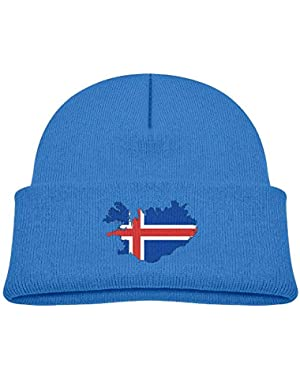 Warm Iceland Map Flag Printed Toddlers Baby Winter Hat Beanie