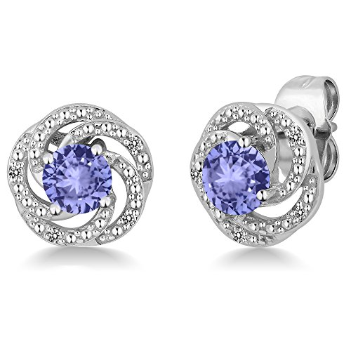 - 0.98 Ct Round Blue Tanzanite White Diamond 925 Sterling Silver Flower Design Earrings