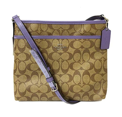 Coach Signature Zip File Crossbody Bag (SV/Khaki Light Purple) (Crossbody Bag Big)