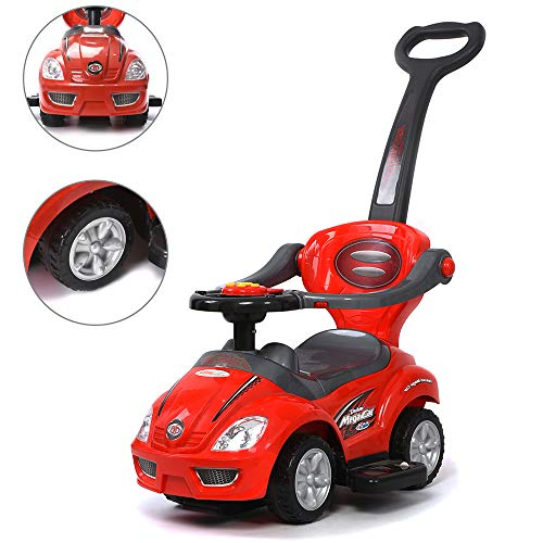(ChromeWheels 3 in 1 Ride on Toys Pushing Car with Guardrail,Mega Car for Toddler Wagon Handle Stroller,Color Red)