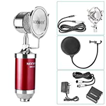 Neewer® NW-882 Condenser Microphone with Shock Mount and 3.5mm Male to XLR Female Cable & 48V Phantom Power Supply with Adapter and XLR Male to XLR Female Cable & Pop Filter Kit (Red)