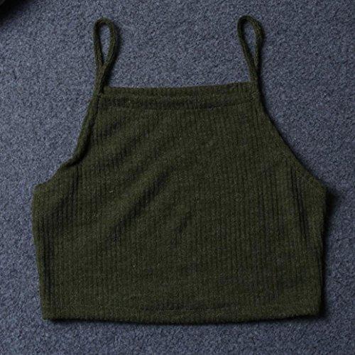 shirts Débardeurs Mode Amlaiworld T Chemisier Sexy Vert Gilet Femmes Casual Tricot Sans Militaire Manches Shirt zqg7ftq
