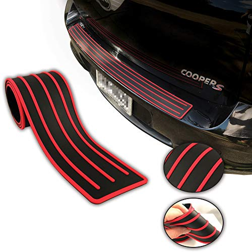 (COSMOSS Bumper Protector Guard Pickup Rear Bumper Guard Trunk Protectors Flexible Rubber Sill Cover Non Slip Adhesive Strips fits Most Car (36-in, Red Stripe))