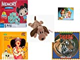 Childrens Gift Bundle - Ages 3-5 [5 Piece] - Ni Hao Kai-Lan Edition Memory Game - Jake and the Never Land Pirates 24 Piece Puzzle Toy - Ty Beanie Baby - Bones the Dog - Its Mine. A Book About Sha