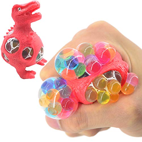 4 Pack Dinosaur Stress Relief Toys, Funny Anti-Stress Mesh Ball Grape Squeeze Sensory Toys Stress Relief Fidgets Ball for Anxiety Kids & Adults Play Vent Toys Party School Travel Birthday Gift by GreaSmart (Image #1)