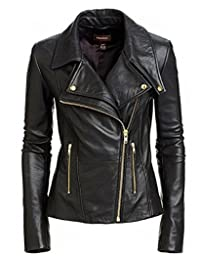 Women Stylish Slimfit Lambskin Genuine Leather Motorcycle Biker Jacket