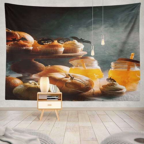 KJONG Halloween-Pumpkin Decorative Tapestry,Cupcake and Pumpkin Dark Sweets Celebration Halloween Autumn 60X80 Inches Wall Hanging Tapestry for Bedroom Living Room ()