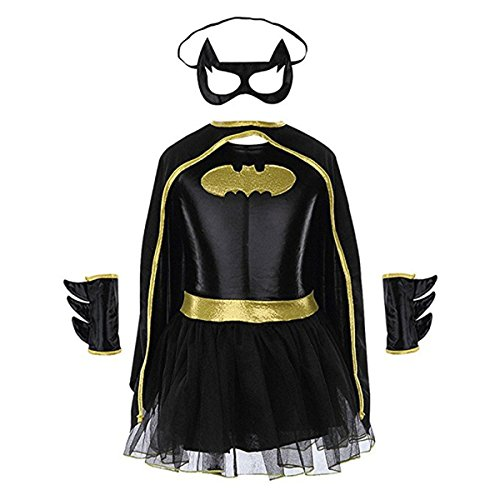 Batgirl Tutu Costume (Batgirl Tutu Dress Child Halloween Costume Superhero Dress for kids Set of 4PCS (Large))