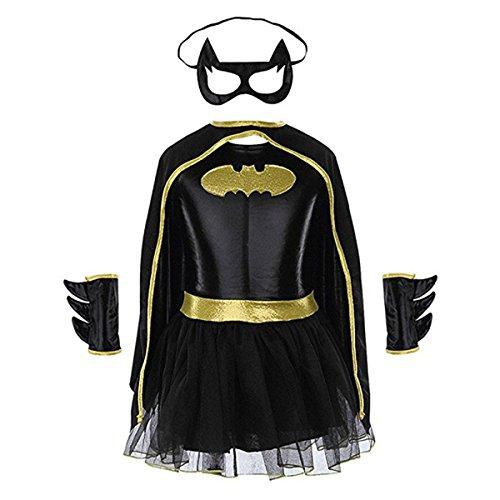 Batgirl Tutu Dress Child Halloween Costume Superhero Dress for kids Set of 4PCS (Batgirl Halloween Face)