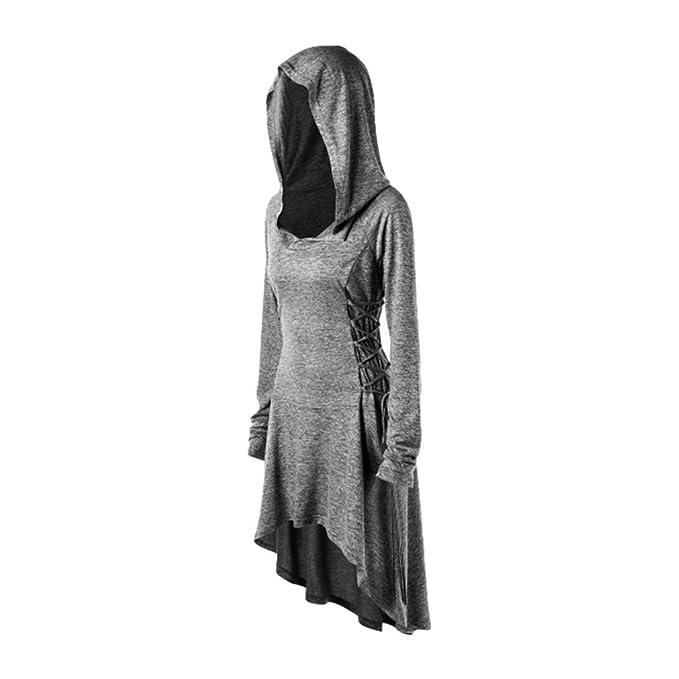 Mujeres Vestido Vintage Traje Medieval Vestidos con Capucha Mujer ...