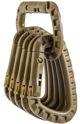 Equipment Gear (LeBeila Tactical Carabiner Keychain Hard Polymer Carabiners Climbing D Rings Light Weight Spring Snap Gear Clip Utility Hooks Backpack Hanging Buckle for Camping Hiking Fishing (Khaki, 6PCS))