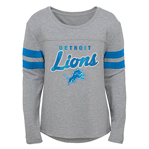 Outerstuff NFL NFL Detroit Lions Youth Girls Field Armor Long Sleeve Dolman Tee Heather Grey, Youth Medium(10-12) ()