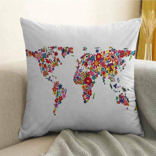 Floral World Map Printed Custom Pillowcase Bunch of Flower Petals Essence Fragrance Garden Growth Theme Atlas Image Decorative Sofa Hug Pillowcase W24 x L24 Inch Multicolor ()