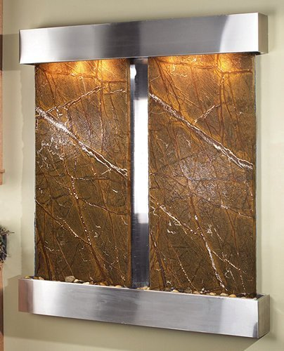 - Adagio Cottonwood Falls Wall Fountain Rainforest Brown Marble Stainless Steel - CFS2006