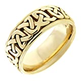 14K Gold Celtic Love Knot Men's Comfort Fit Wedding Band (8.5mm) Size-9.5c1