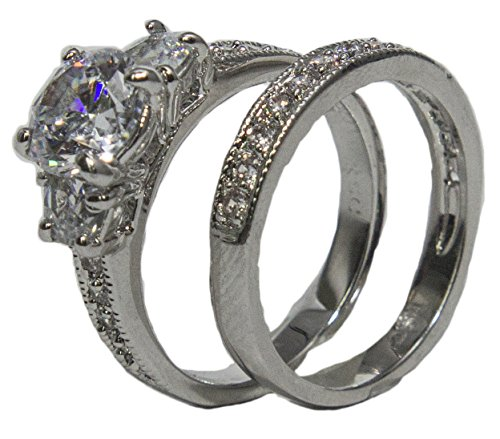 - Women's Rhodium Plated Dress Rings Engagement and Band Set CZ 007 (6)