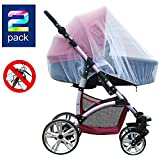 Baby : 2 Pack Baby Mosquito Net for Strollers Carriers Car Seats Cradles, Portable Durable & Long Lasting Infant Insect Shield Netting (White)