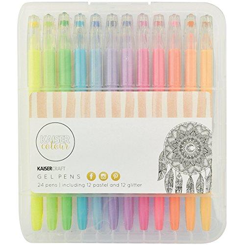 kaisercraft-cl101-kaisercolour-gel-pens-24-pack-12-pastel-12-glitter-colors-assorted