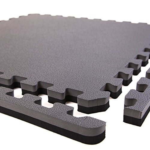 IncStores - 1'' MMA Interlocking Foam Tiles (Black/Grey, 6 Tiles (2ft x 2ft Tiles) 24 Sqft) - Perfect for Martial Arts, Lightweight Home Gyms, p90x, Insanity, Gymnastics, Yoga, Cardio and Aerobics by IncStores (Image #1)