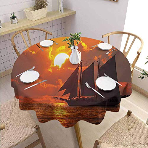 DILITECK Sailboat Terrace Round Tablecloth Boat Sailing in Front of a Sunset in Key West Florida Sundown Tropical Fabric Tablecloth Diameter 54