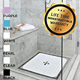 Enkosi Square 21x21 Inch Shower Stall Mat Machine Washable Non Slip with Over 160 Strong Suction Cups (Snow White)