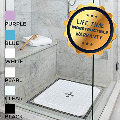 Stall Shower Mat (Enkosi Square 21x21 Inch Shower Stall Mat Machine Washable Non Slip with Over 160 Strong Suction Cups (Clear))